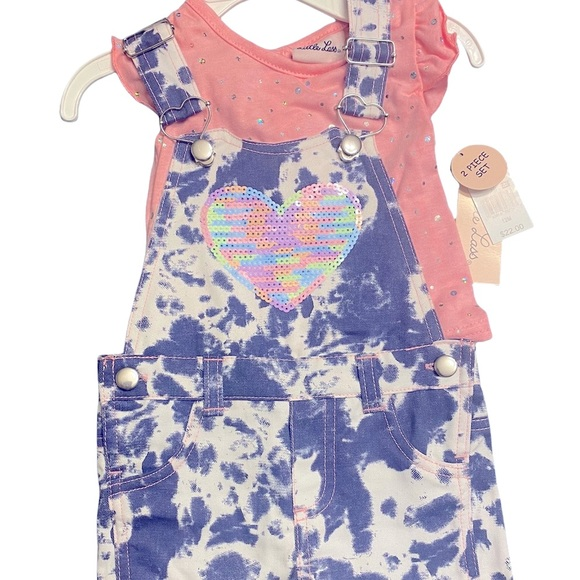 2 piece heart overalls with pink t-shirt